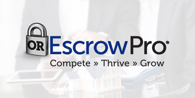Paddle lock with OR on it with Escrow Pro next to it and Compete, Thrive and Grow below it