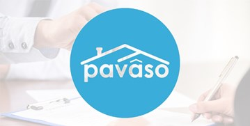 Pavaso white letters with a roof on top inside a blue circle