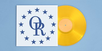 Gold record album with blue OR and stars logo as the album cover