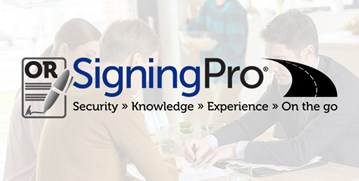 OR Signing Pro logo with Security, knowledge, experience and On the go with a black road